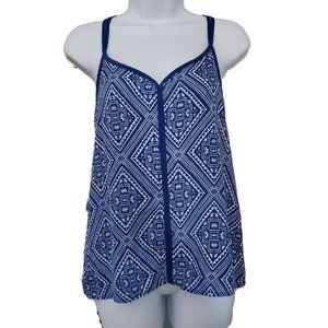 New Maurices Geometric Blue and White Tank XS